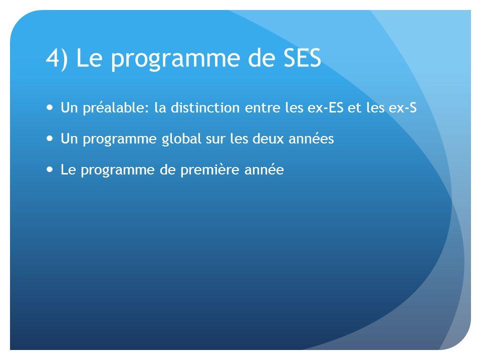 4) Le programme de SES Un préalable: la distinction entre les ex-ES et les ex-S. Un programme global sur les deux années.