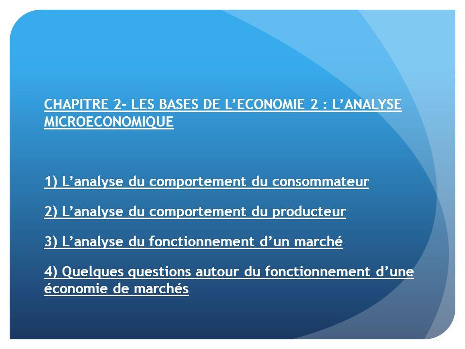 CHAPITRE 2- LES BASES DE L'ECONOMIE 2 : L'ANALYSE MICROECONOMIQUE