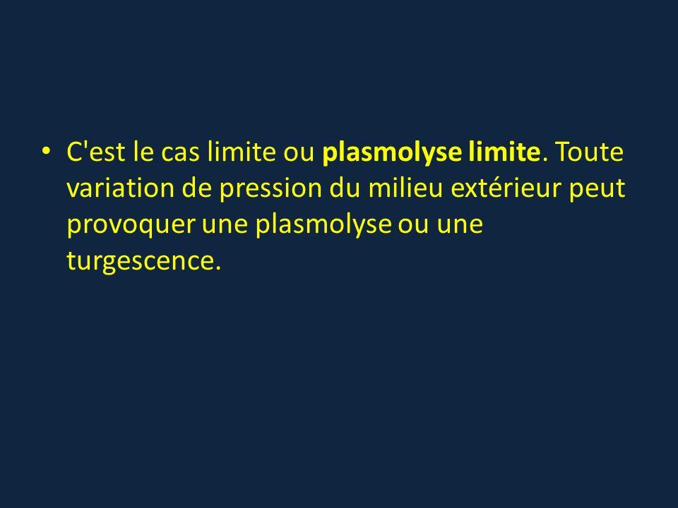 C est le cas limite ou plasmolyse limite