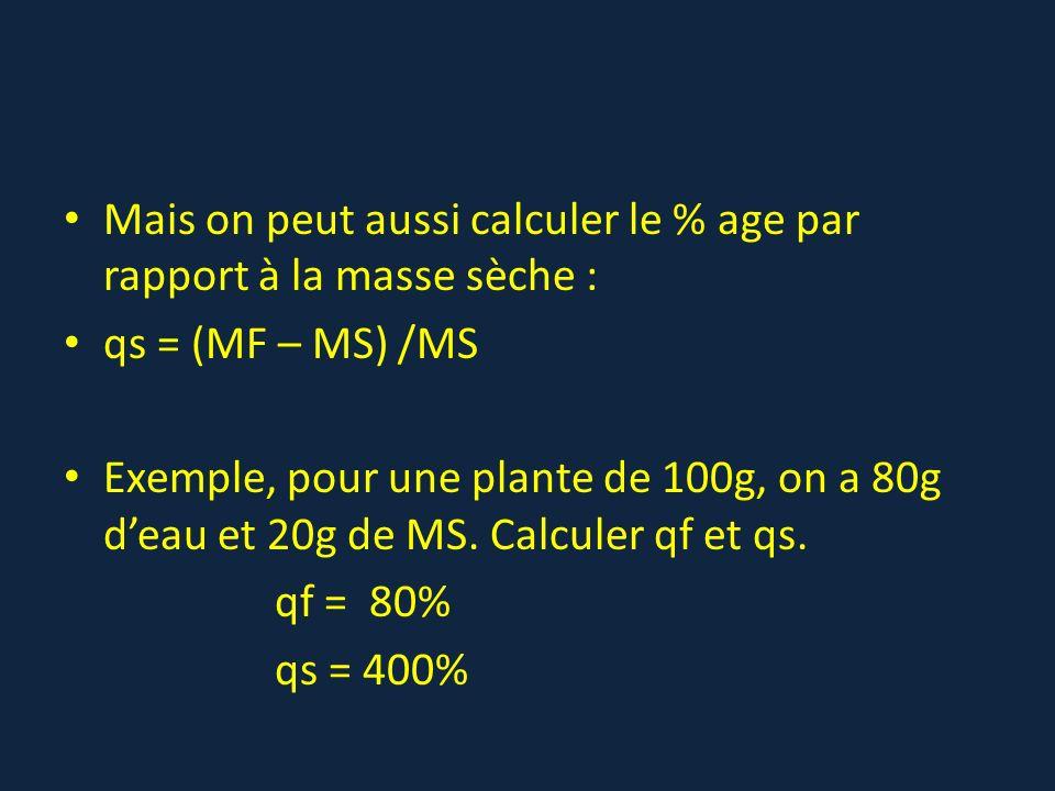 Mais on peut aussi calculer le % age par rapport à la masse sèche :