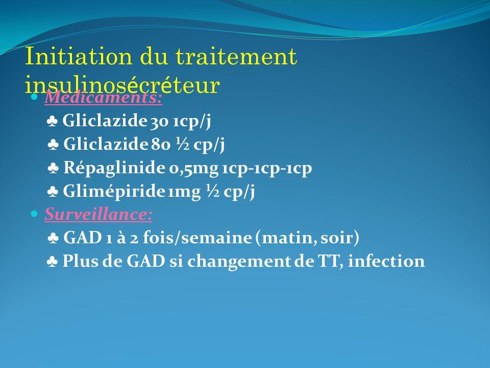 Initiation du traitement insulinosécréteur