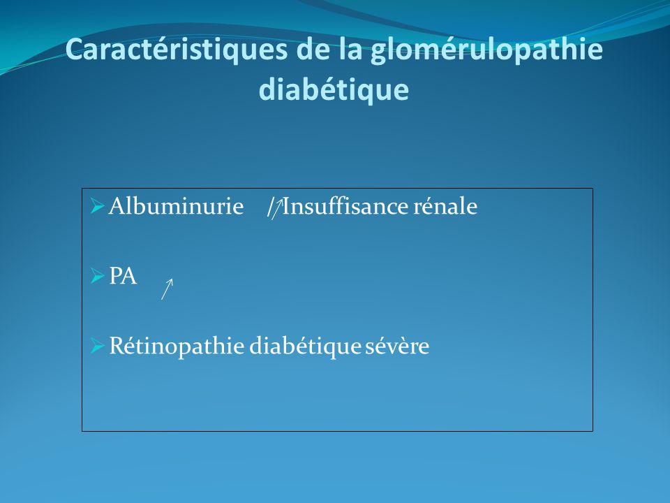 Caractéristiques de la glomérulopathie diabétique