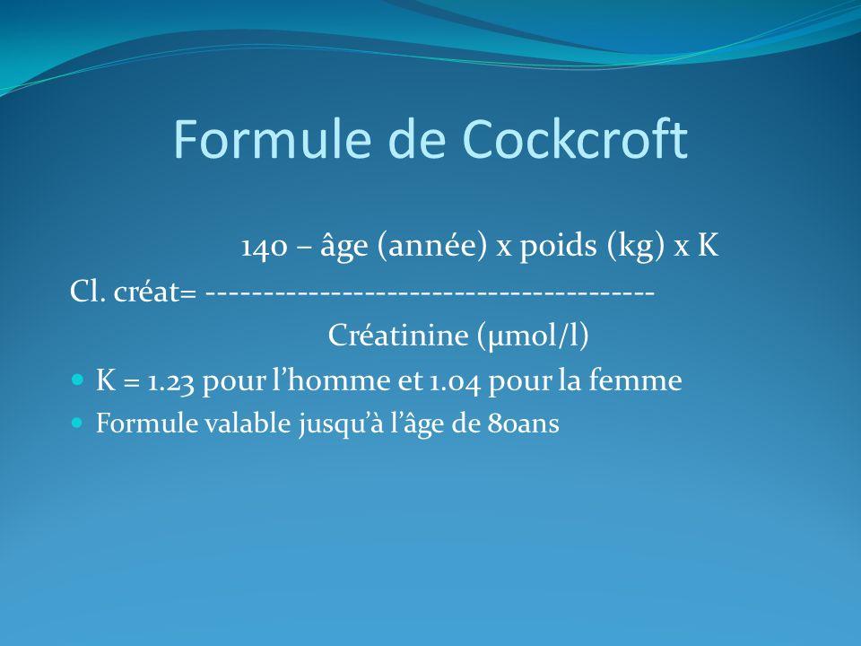 Formule de Cockcroft 140 – âge (année) x poids (kg) x K