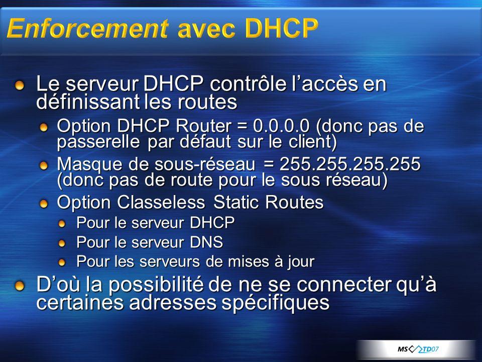 3/29/2017 11:46 PM Enforcement avec DHCP. Le serveur DHCP contrôle l'accès en définissant les routes.