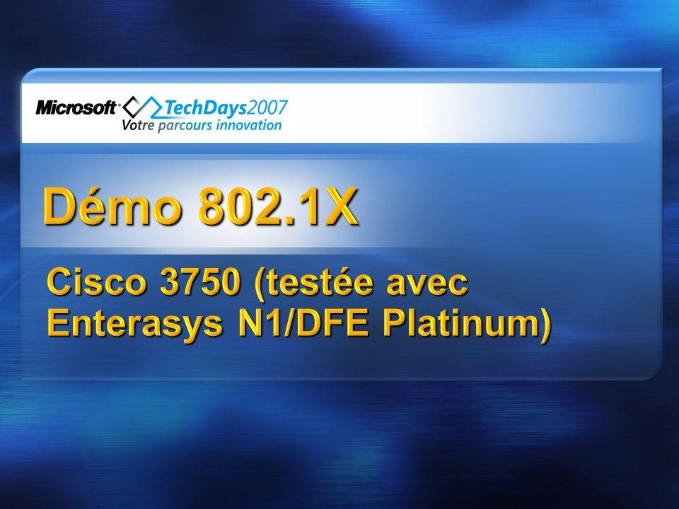 Cisco 3750 (testée avec Enterasys N1/DFE Platinum)