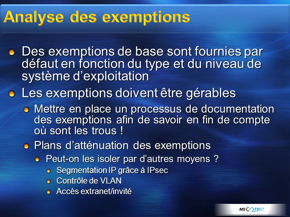 Analyse des exemptions
