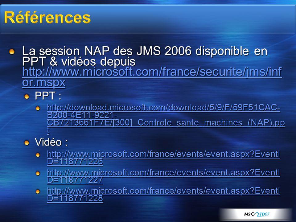 3/29/2017 11:46 PM Références. La session NAP des JMS 2006 disponible en PPT & vidéos depuis http://www.microsoft.com/france/securite/jms/infor.mspx.