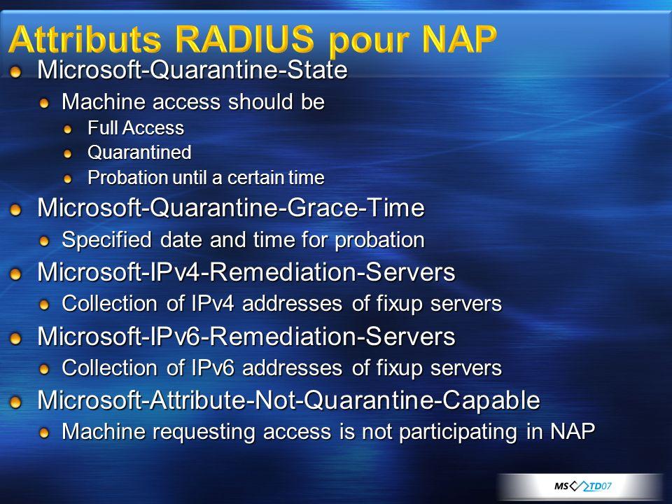 Attributs RADIUS pour NAP