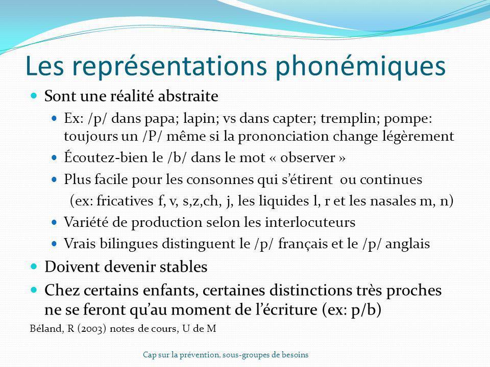 Les représentations phonémiques
