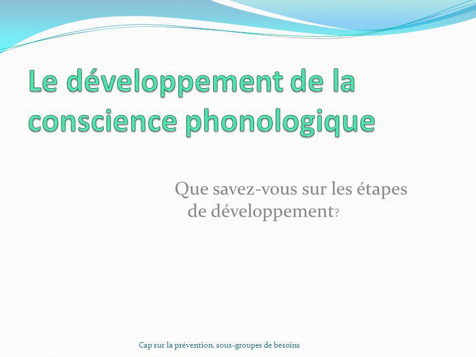 Le développement de la conscience phonologique