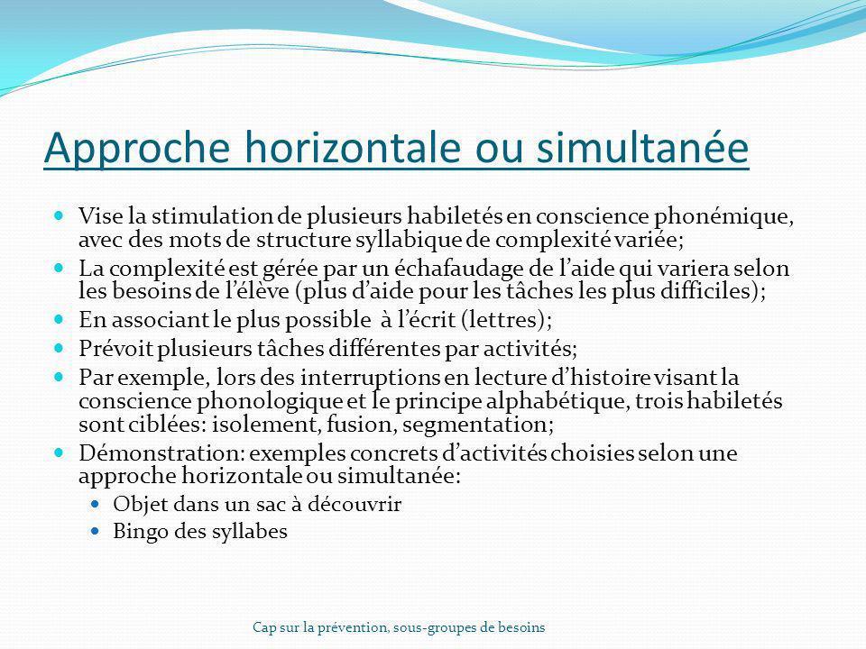 Approche horizontale ou simultanée