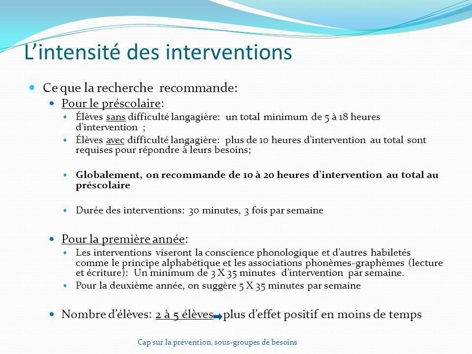 L'intensité des interventions