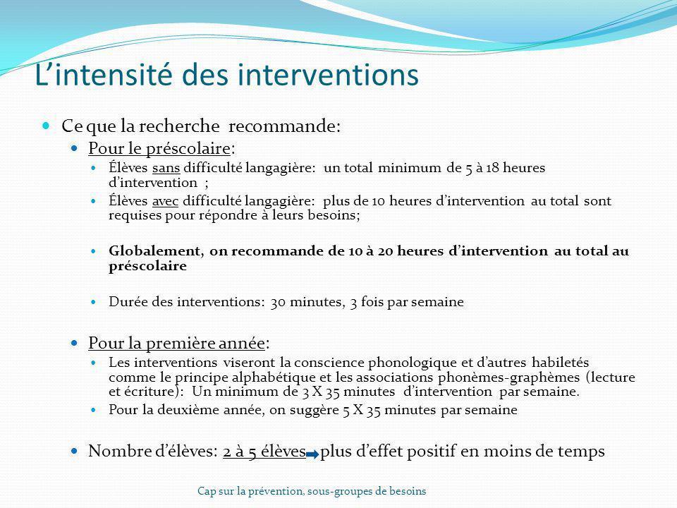 L'intensité des interventions