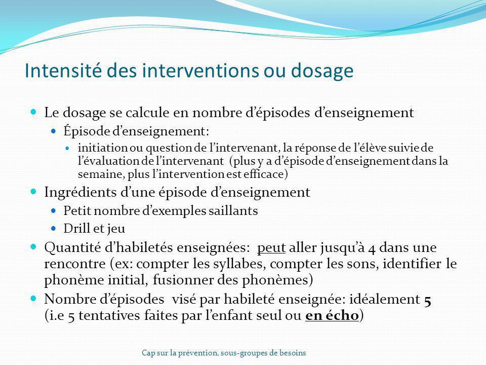 Intensité des interventions ou dosage