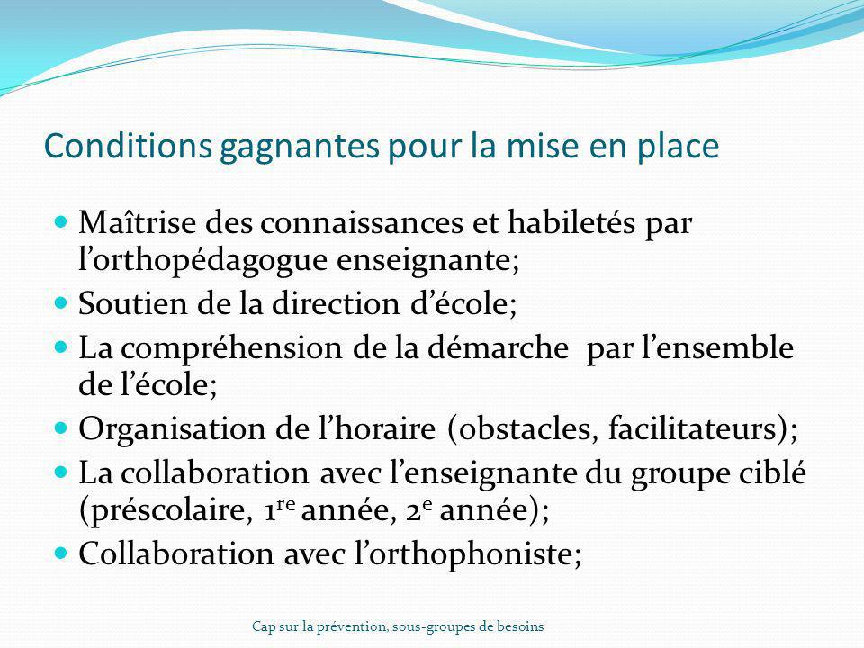 Conditions gagnantes pour la mise en place
