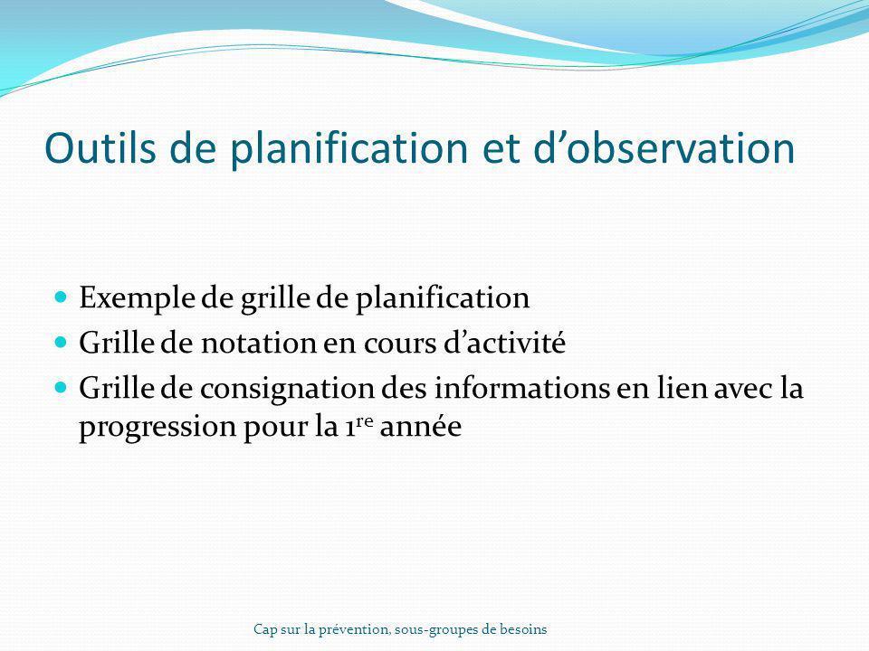 Outils de planification et d'observation