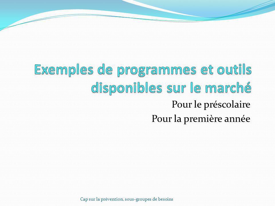 Exemples de programmes et outils disponibles sur le marché