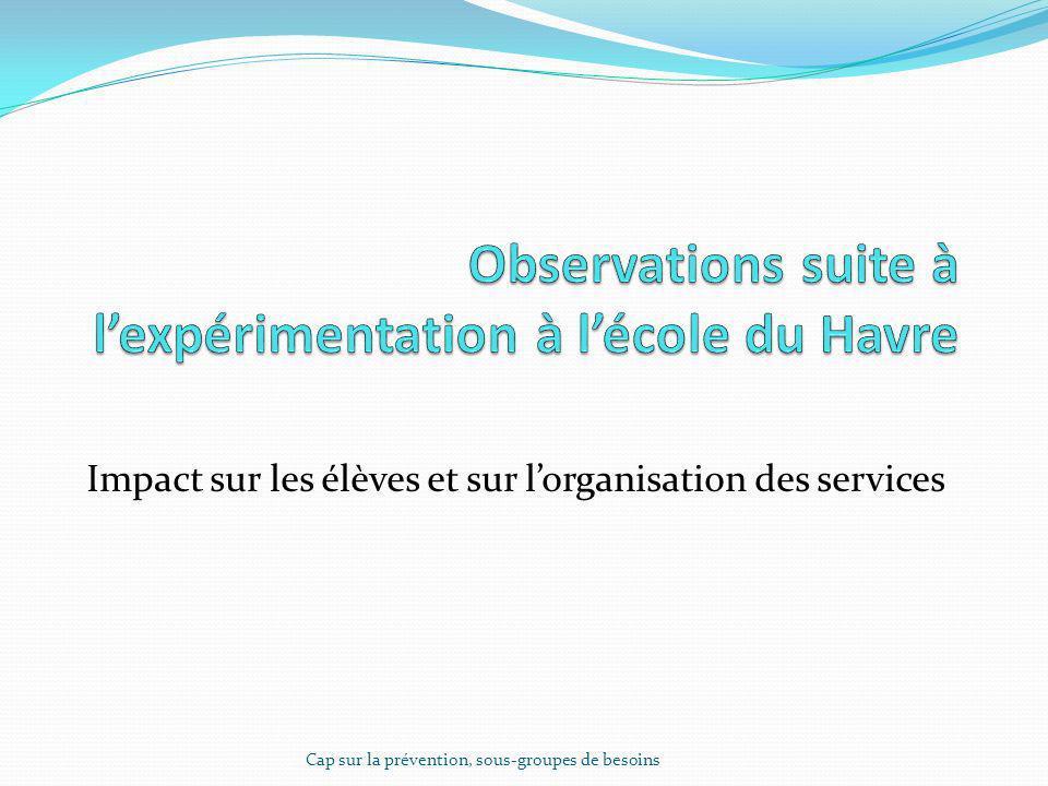 Observations suite à l'expérimentation à l'école du Havre