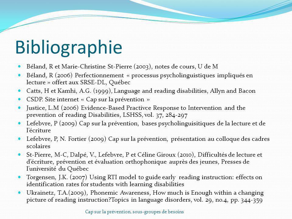 Bibliographie Béland, R et Marie-Christine St-Pierre (2003), notes de cours, U de M.