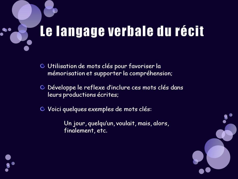 Le langage verbale du récit