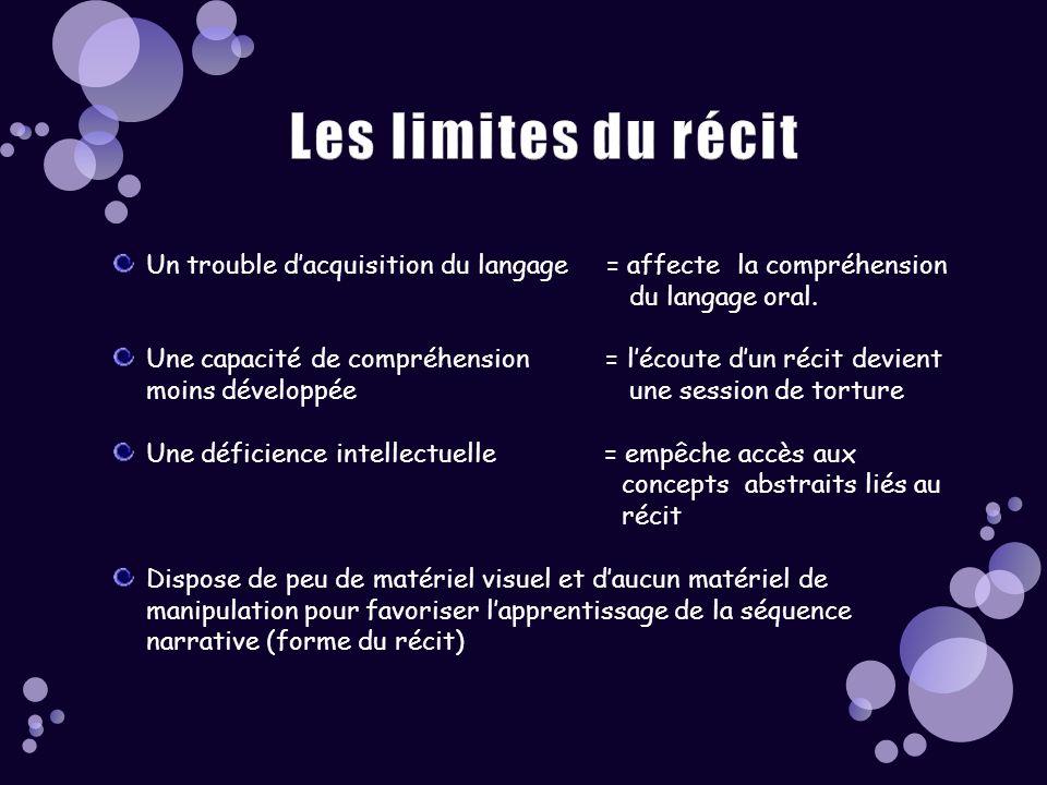 Les limites du récit Un trouble d'acquisition du langage = affecte la compréhension. du langage oral.
