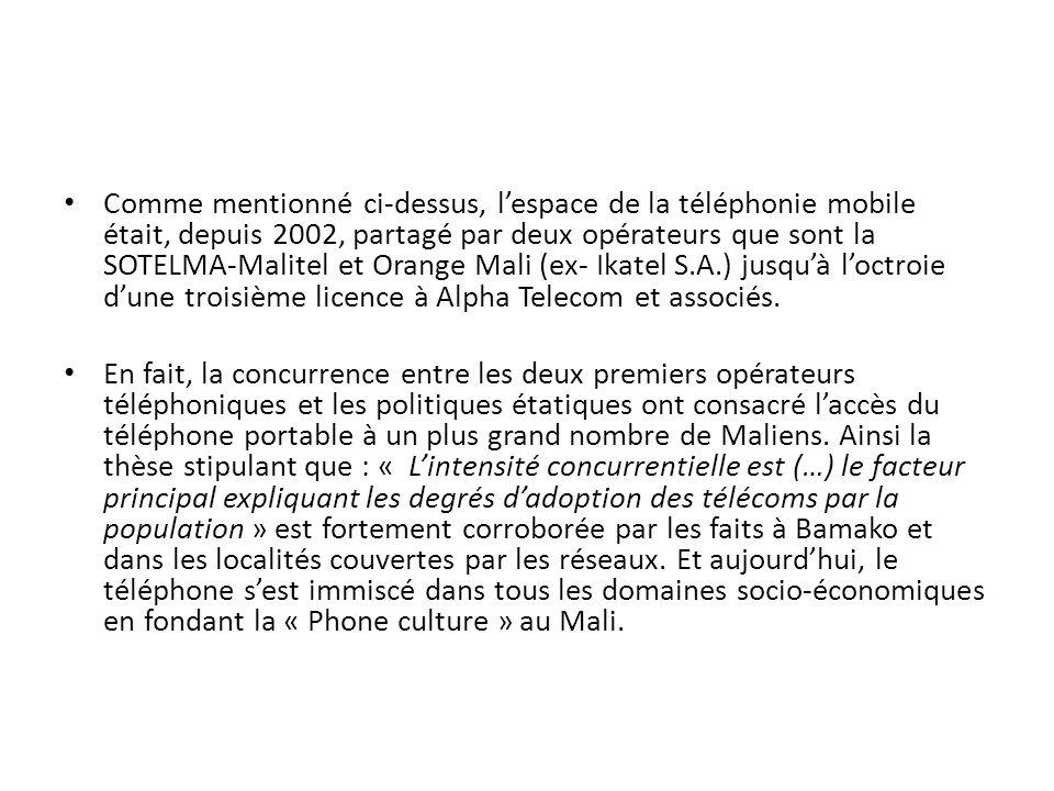 Comme mentionné ci-dessus, l'espace de la téléphonie mobile était, depuis 2002, partagé par deux opérateurs que sont la SOTELMA-Malitel et Orange Mali (ex- Ikatel S.A.) jusqu'à l'octroie d'une troisième licence à Alpha Telecom et associés.