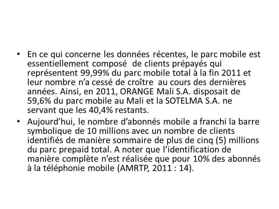 En ce qui concerne les données récentes, le parc mobile est essentiellement composé de clients prépayés qui représentent 99,99% du parc mobile total à la fin 2011 et leur nombre n'a cessé de croître au cours des dernières années. Ainsi, en 2011, ORANGE Mali S.A. disposait de 59,6% du parc mobile au Mali et la SOTELMA S.A. ne servant que les 40,4% restants.