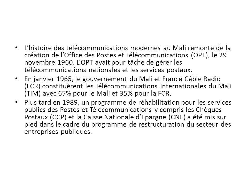 L'histoire des télécommunications modernes au Mali remonte de la création de l'Office des Postes et Télécommunications (OPT), le 29 novembre 1960. L'OPT avait pour tâche de gérer les télécommunications nationales et les services postaux.