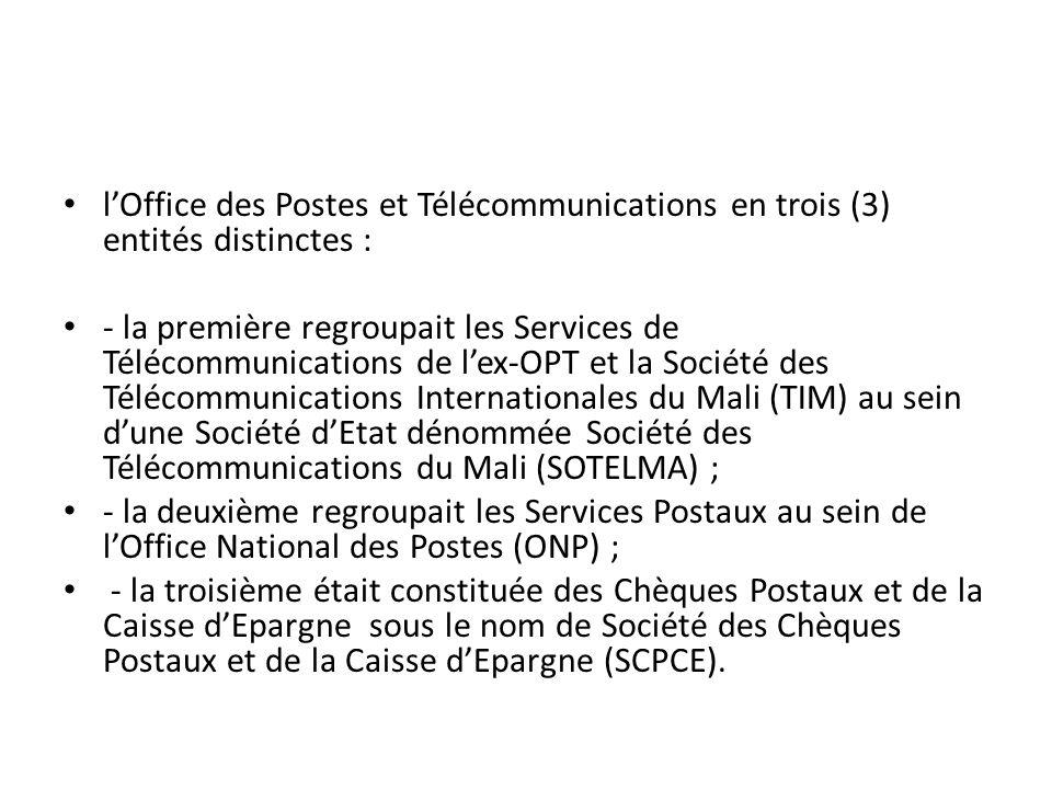 l'Office des Postes et Télécommunications en trois (3) entités distinctes :