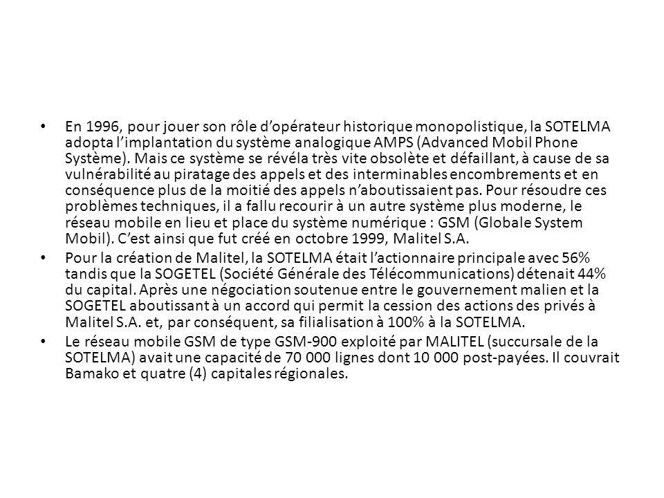 En 1996, pour jouer son rôle d'opérateur historique monopolistique, la SOTELMA adopta l'implantation du système analogique AMPS (Advanced Mobil Phone Système). Mais ce système se révéla très vite obsolète et défaillant, à cause de sa vulnérabilité au piratage des appels et des interminables encombrements et en conséquence plus de la moitié des appels n'aboutissaient pas. Pour résoudre ces problèmes techniques, il a fallu recourir à un autre système plus moderne, le réseau mobile en lieu et place du système numérique : GSM (Globale System Mobil). C'est ainsi que fut créé en octobre 1999, Malitel S.A.