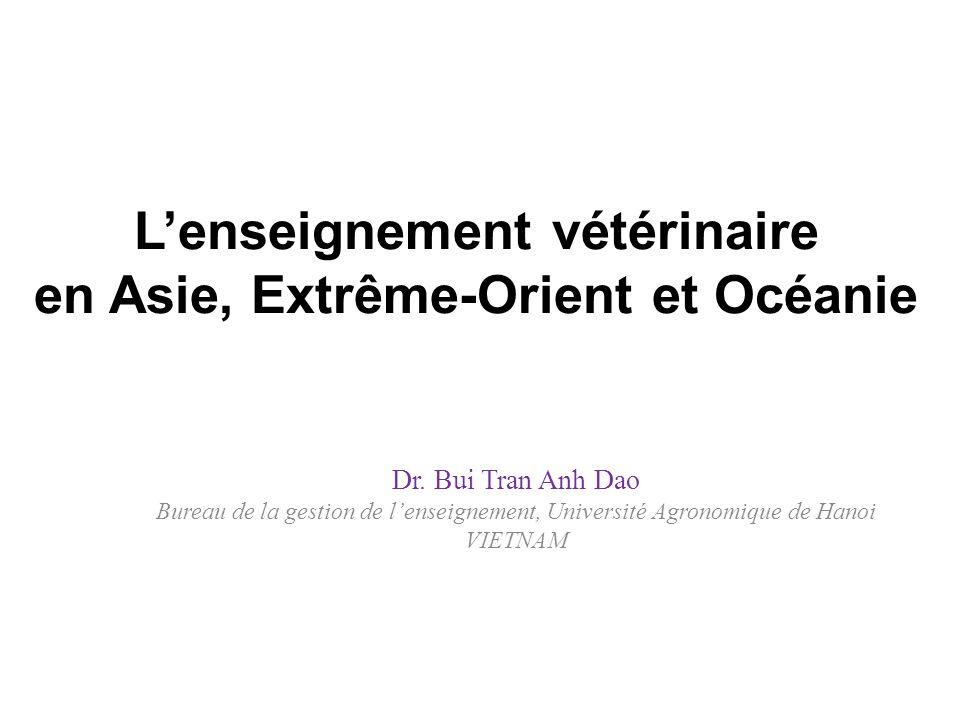 L'enseignement vétérinaire en Asie, Extrême-Orient et Océanie