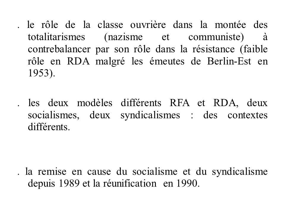 le rôle de la classe ouvrière dans la montée des totalitarismes (nazisme et communiste) à contrebalancer par son rôle dans la résistance (faible rôle en RDA malgré les émeutes de Berlin-Est en 1953).