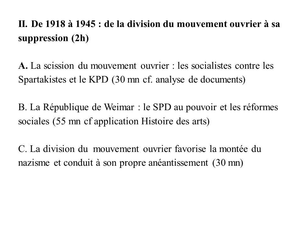 II. De 1918 à 1945 : de la division du mouvement ouvrier à sa suppression (2h) A.