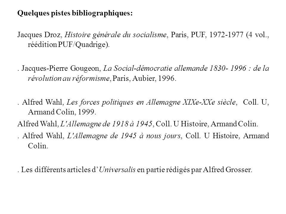 Quelques pistes bibliographiques: Jacques Droz, Histoire générale du socialisme, Paris, PUF, 1972-1977 (4 vol., réédition PUF/Quadrige).