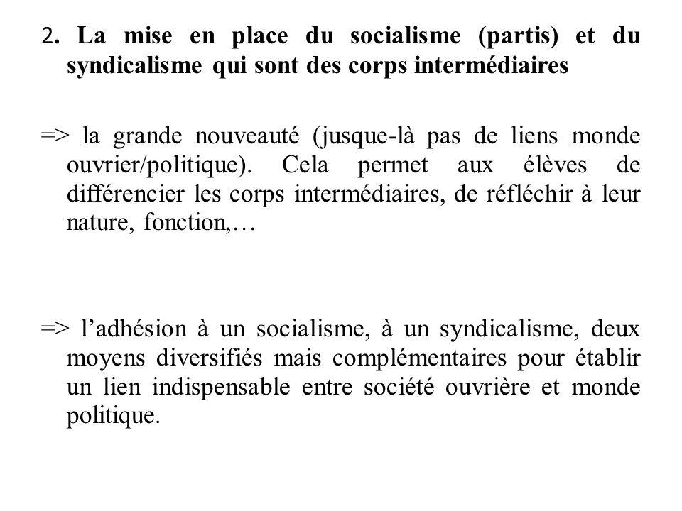 2. La mise en place du socialisme (partis) et du syndicalisme qui sont des corps intermédiaires