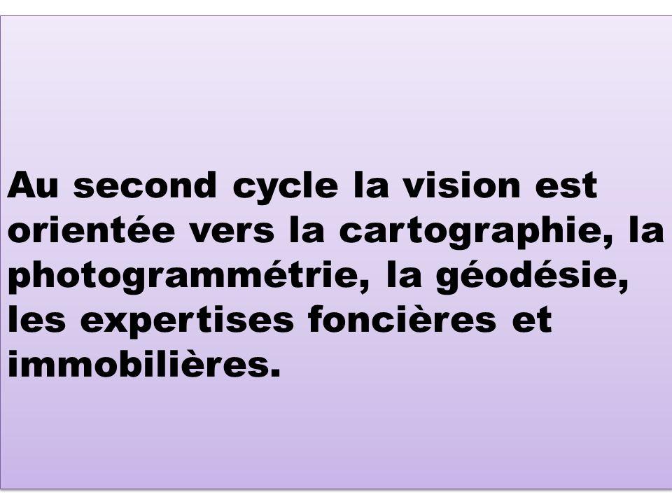 Au second cycle la vision est orientée vers la cartographie, la photogrammétrie, la géodésie, les expertises foncières et immobilières.