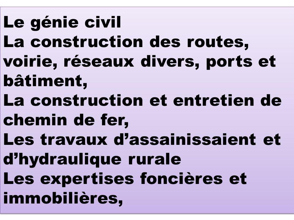 Le génie civil La construction des routes, voirie, réseaux divers, ports et bâtiment, La construction et entretien de chemin de fer, Les travaux d'assainissaient et d'hydraulique rurale Les expertises foncières et immobilières,