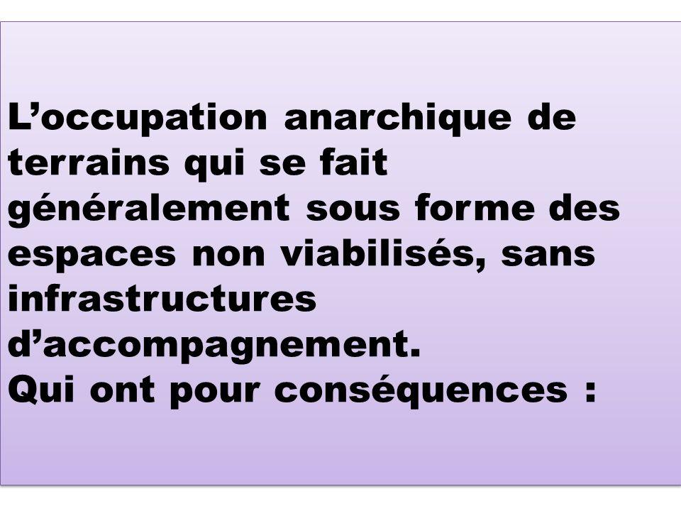 L'occupation anarchique de terrains qui se fait généralement sous forme des espaces non viabilisés, sans infrastructures d'accompagnement.