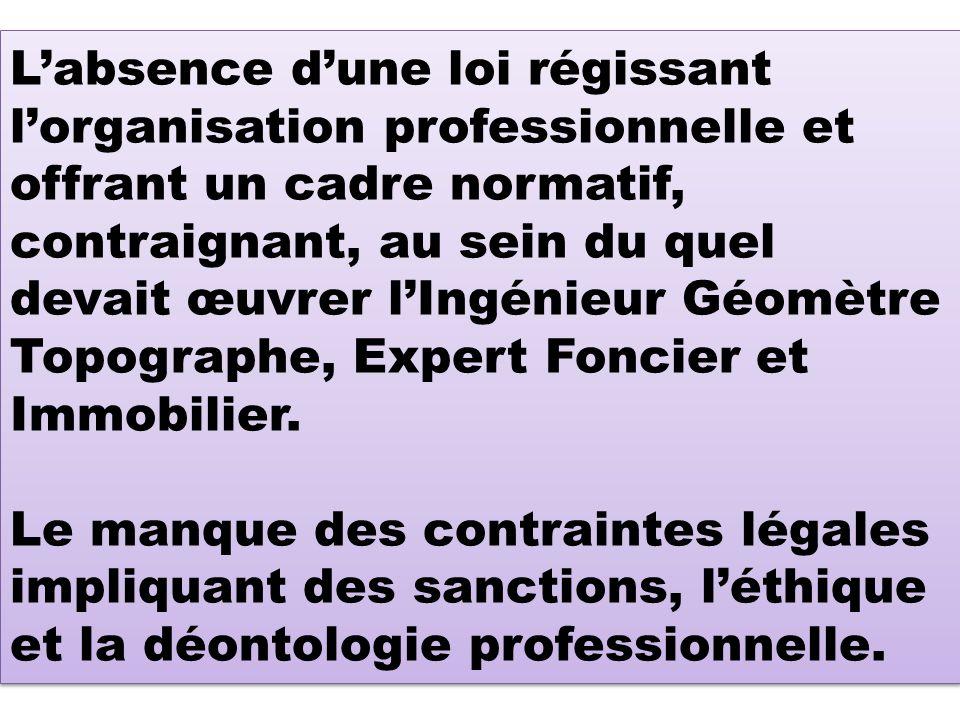 L'absence d'une loi régissant l'organisation professionnelle et offrant un cadre normatif, contraignant, au sein du quel devait œuvrer l'Ingénieur Géomètre Topographe, Expert Foncier et Immobilier.