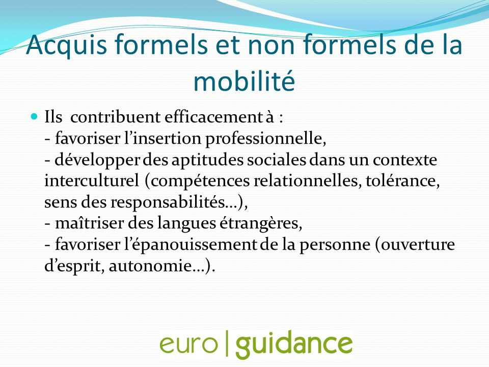 Acquis formels et non formels de la mobilité