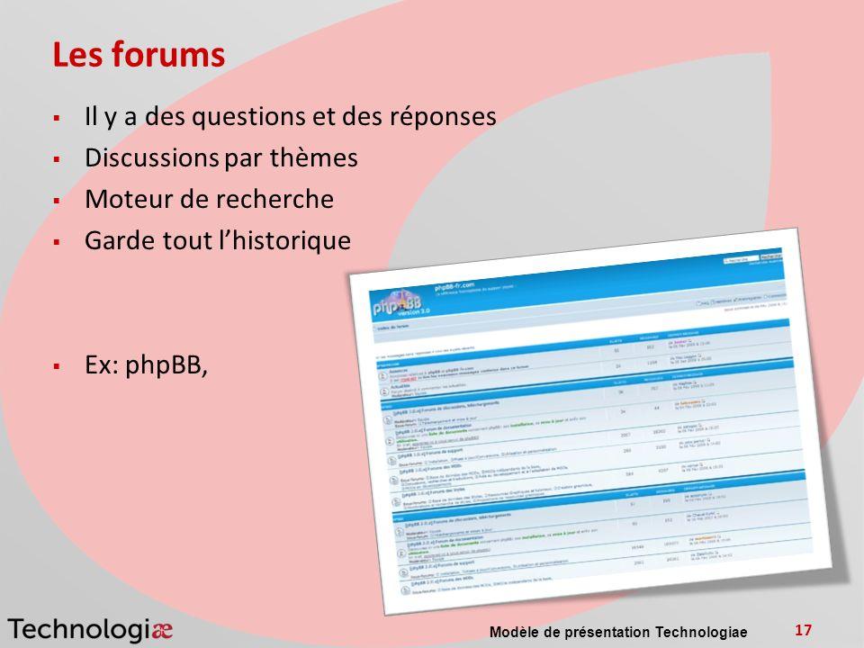 Les forums Il y a des questions et des réponses Discussions par thèmes
