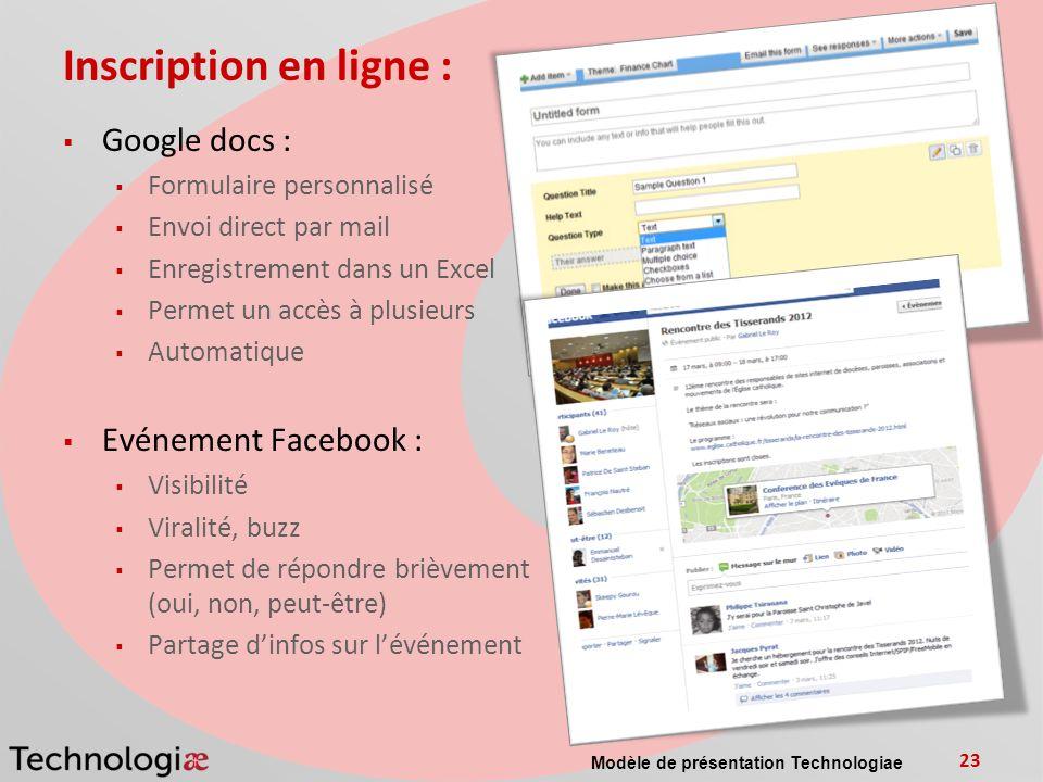 Inscription en ligne : Google docs : Evénement Facebook :