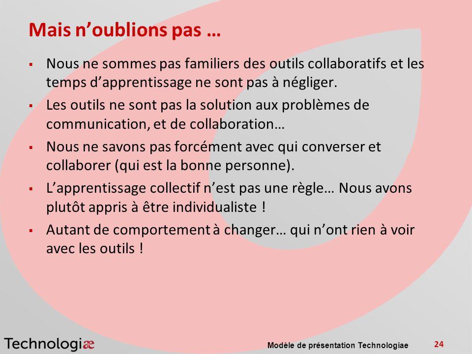 Mais n'oublions pas … Nous ne sommes pas familiers des outils collaboratifs et les temps d'apprentissage ne sont pas à négliger.