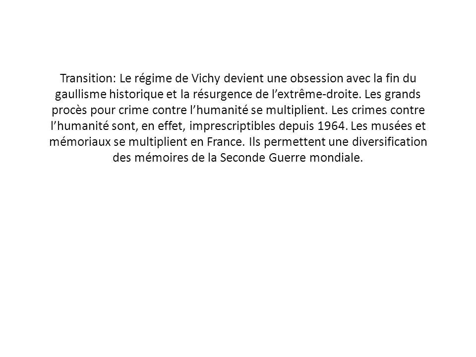 Transition: Le régime de Vichy devient une obsession avec la fin du gaullisme historique et la résurgence de l'extrême-droite.