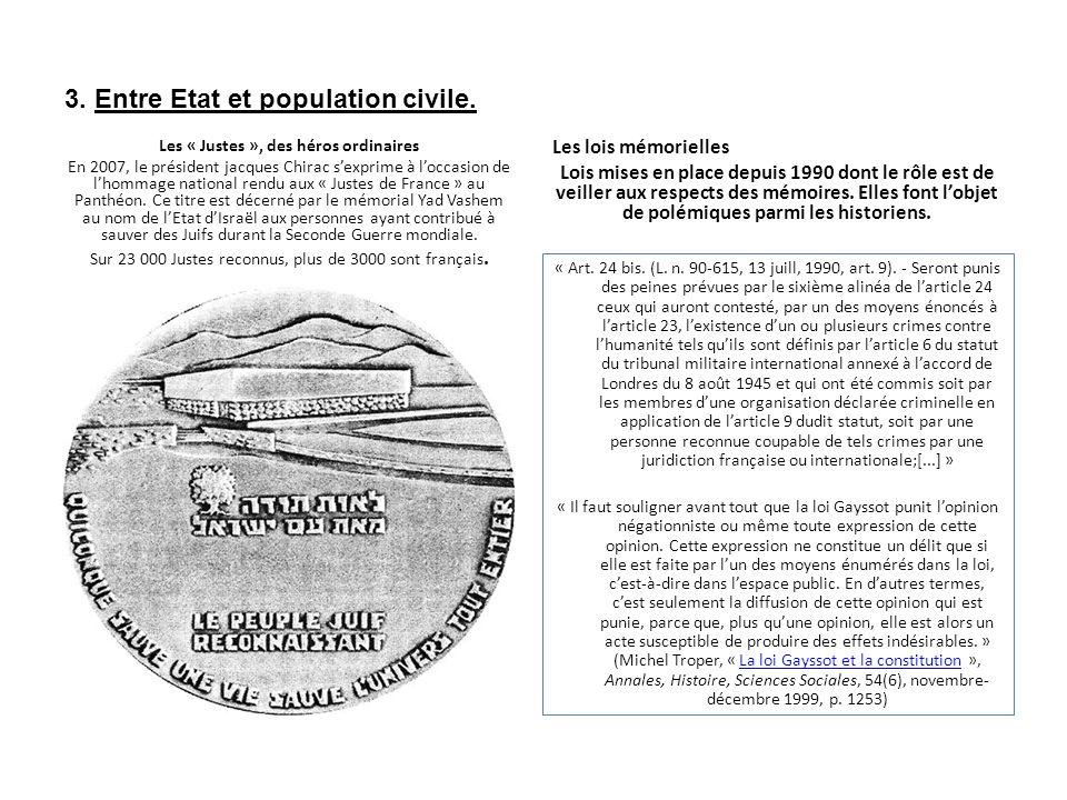 3. Entre Etat et population civile.