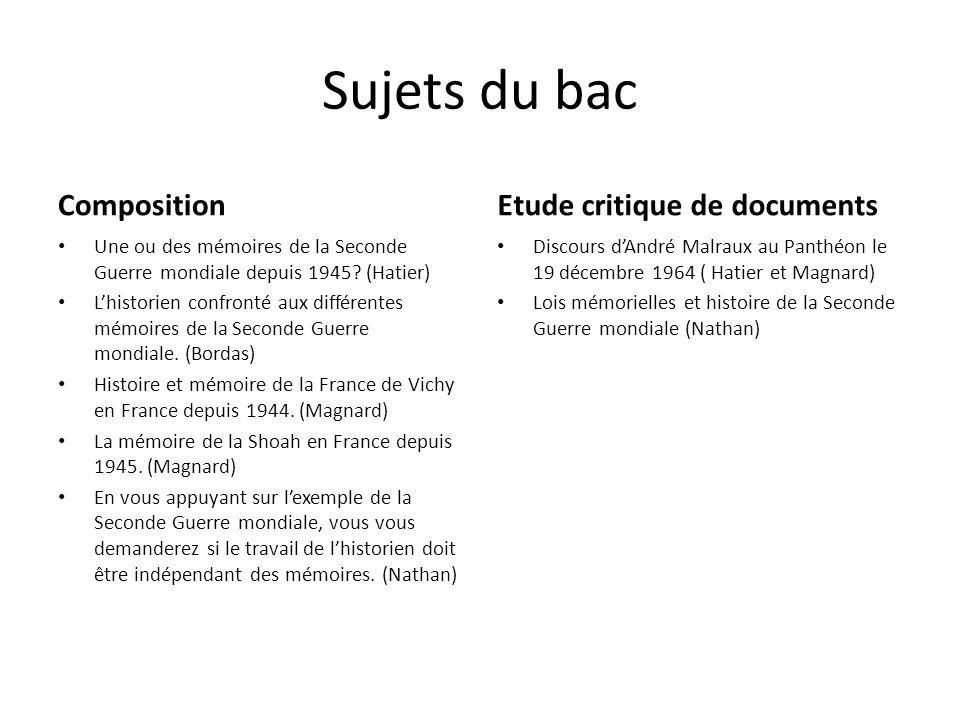 Sujets du bac Composition Etude critique de documents