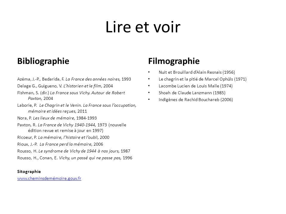 Lire et voir Bibliographie Filmographie