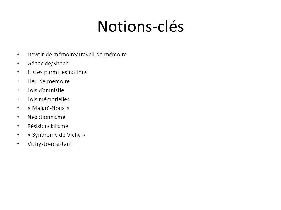 Notions-clés Devoir de mémoire/Travail de mémoire Génocide/Shoah