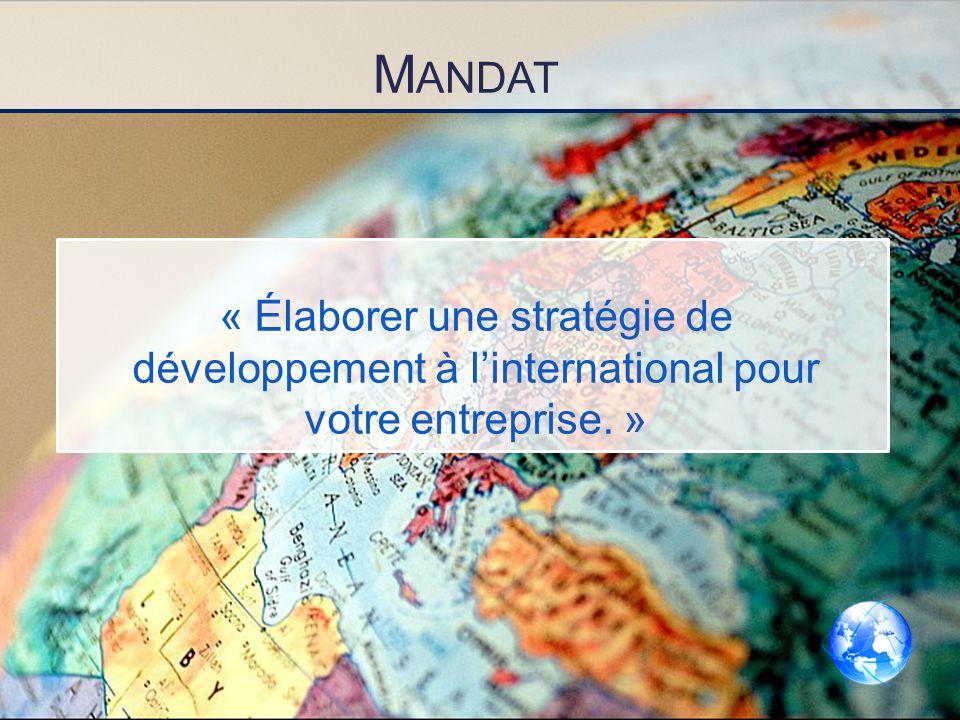 Mandat « Élaborer une stratégie de développement à l'international pour votre entreprise. »
