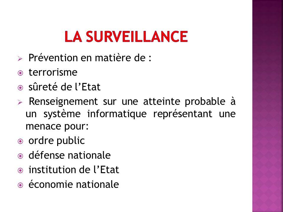 La surveillance Prévention en matière de : terrorisme sûreté de l'Etat